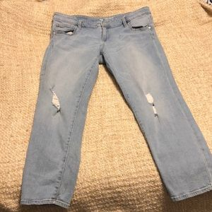 Gap light wash distressed girlfriend jeans